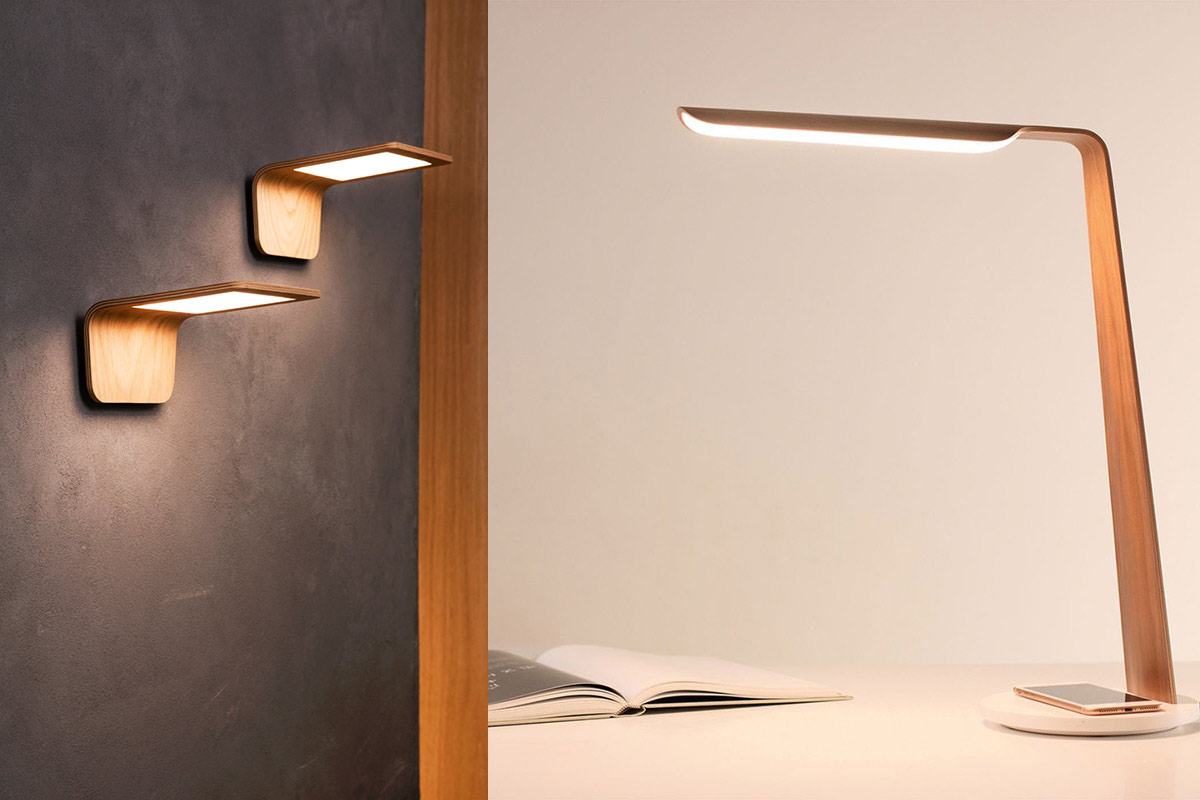 Butterfly wall lamps and Swan QI table lamp